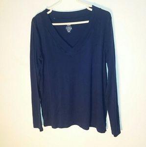 Navy Blue Long Sleeved Mossimo V-Neck Shirt